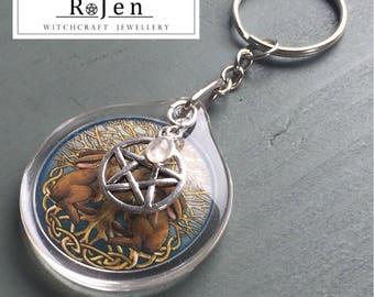 Celtic Hares, Rainbow Moonstone & Pentagram Keyring