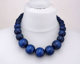 Navy Blue Chunky Necklace | Navy wooden bead necklace | Navy Blue chunky beads