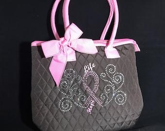 Breast cancer Rhinestones Tote bag
