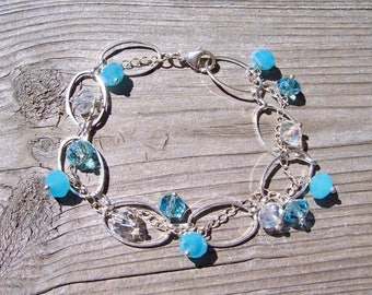 Crystal and silver chain woven bracelet, gift for her, mothers day gift, crystal jewelry