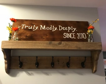 Truly, Madly, Deeply Wood Sign, Love Sign, Customized Date