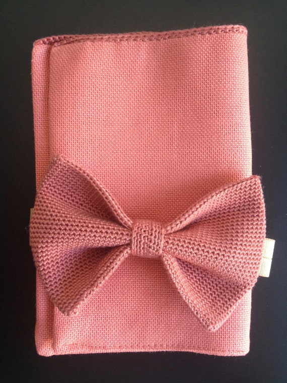 Pocket Square, S, linen, coral/ coral, with crochet border