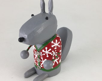 Gray Squirrel in a Holiday Sweater