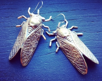 CICADA bronze and sterling earrings