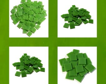 Lime Green Squares Stained Glass Mosaic Tiles Hand Cut Kokomo Solid Opal
