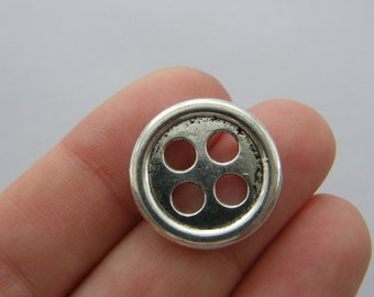 8 Buttons charms antique silver tone P484