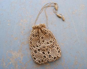 vintage 20s Crochet Purse - 1920s Beige Lace Bag Flapper Purse Drawstring Purse Wristlet