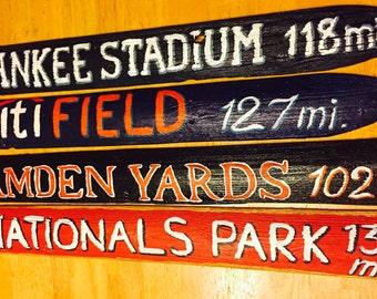 Baseball stadium reclaimed wood signs