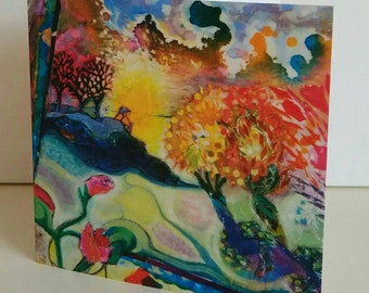 Greeting card Inside Out from original painting by Bee Skelton for any occasion birthday gift anniversary thank you
