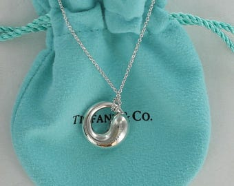 """SALE:  Lovely and Meaningful Tiffany & Co. Sterling Silver Eternal Circle Necklace on a 16"""" Chain"""