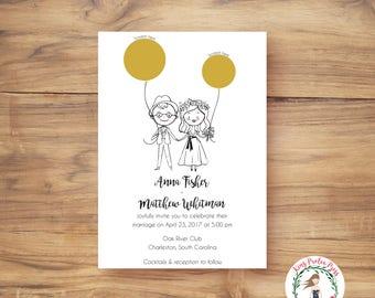 Unique Wedding Invitation, Personalized Couple Portraits, Scratch off Wedding Invitations, Custom Portrait Invitations, Scratch-off Invites