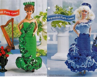 Emerald and Bejeweld Party Gowns Crochet Patterns Annie's fashion doll Crochet Club FCC13-04 & FC18-03
