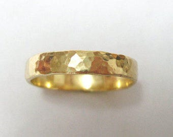 Hammered Gold Wedding Band, Mens Wedding Band, Yellow Gold Hammered Wedding Ring, Mens Hammered Ring, Mens Wedding Ring, Rustic Mens Ring