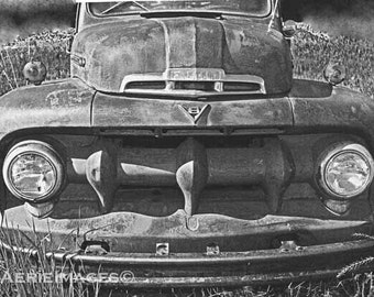 Vintage Ford F150 Pickup Truck, Front View and Grill, BW Photo 8x10 or 5x7