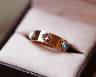 Pink Tourmaline ring Opal ring Moonstone ring Rose gold ring Silver ring Garnet ring