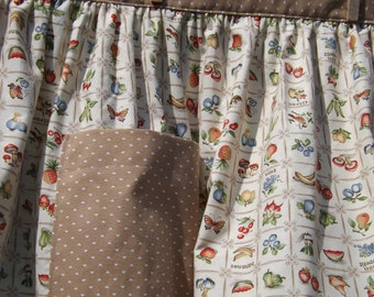 Fruit & Vegetable Print Half Apron, Cream and Tan, Country Kitchen Apron, Two Pockets, Vintage Style Apron, Old Fashioned, Woman's Gift