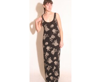 Vintage 1990s All That Jazz black rose long maxi dress size L
