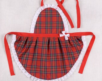 Kitchen apron for women tartan with lace/handmade