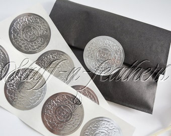 Embossed SILVER sticker seals LARGE round foil stickers 2 in, Envelope Seals, Invitation Seals, Wedding Seals, gift wrapping seal / D15S