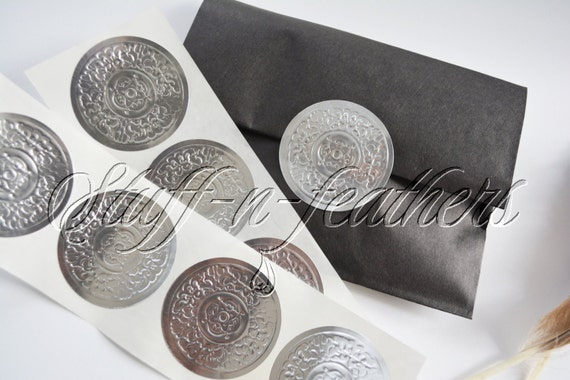 Embossed silver sticker seals large round foil stickers 2 in envelope seals invitation seals wedding seals gift wrapping seal d15s from stuffnfeathers