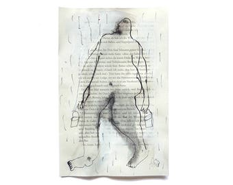 """catching rain, ink drawing,  5.5"""" x 8.4"""", Contemporary Figurative Art, simple figure"""