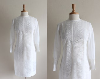 1960s Dress / Vintage Long Sleeve White Embroidered Vicky Vaughn Dress