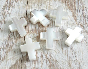 Mother of pearl, cross beads, set of 5, white cross charms, Natural beads, pearl beads, christian cross, catholic charms, rosary beads