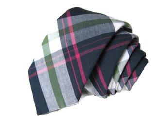 Navy Necktie~Cotton Necktie~Anniversary Gift~Wedding Tie~Mens Necktie~Cotton Tie~Mens Tie~Boys Necktie~Boys Tie~Navy Pink Green Tie~