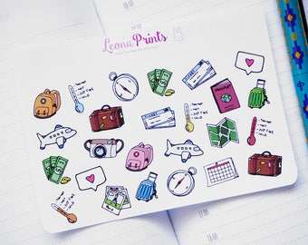 Travel Set Assorted Planner Stickers | Stationery for Erin Condren, Filofax, Kikki K and scrapbooking