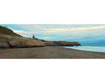 Large Panorama Print of Lighthouse State Beach in Santa Cruz, California on Canvas or Photo Paper
