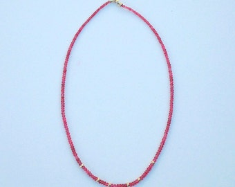 Necklace with Pink Spinel, 17 inches