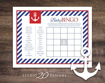 Instant Download Anchor Baby Shower Bingo Cards, Printable Sailor Theme Bingo Game for Baby Boy, Nautical Red Blue Baby Bingo 26A