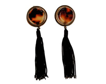 Diane von Furstenberg Tortoise and Black Silk Tassel Earrings, Statement Earrings, Shoulder Duster, DVF, Vintage Designer Jewelry