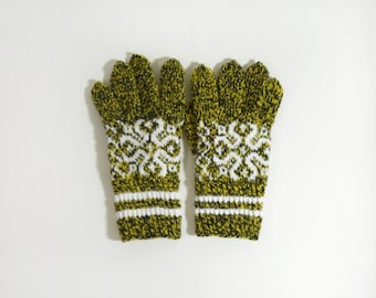 Hand Knitted Gloves - Black, Yellow, Size Medium
