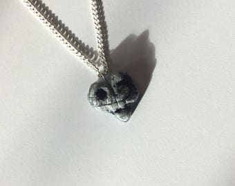 The Death Star - Star Wars heart, polymer clay pendant necklace