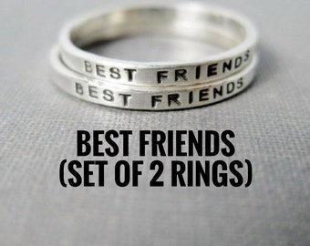 Best Friend Rings - Set of 2, Personalized, Solid Sterling Silver, Stamped