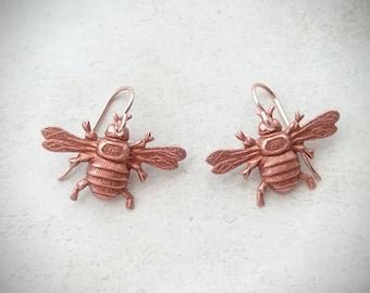 Rose Gold Bee Earrings Rose Gold Bumblebee Earrings Rose Gold Dangle Earrings Rose Gold Earrings Bee Jewelry Insect Earrings Insect Jewelry