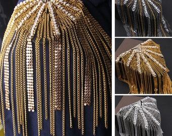 A pair Tassels Epaulets,Handmade Epaulets,Gold Studs Shoulder Pad,Shoulder Embellishment,Epaulets