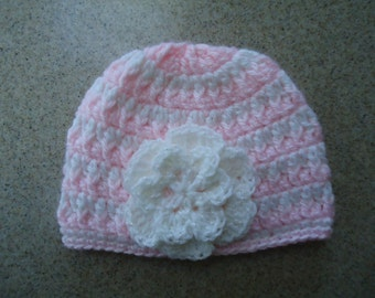 Baby Girl Crocheted Beanie Hat in Pink and White 0-3 months