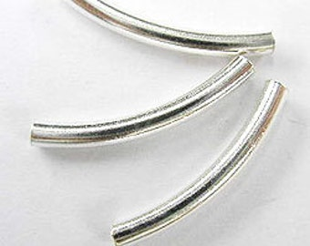 10 of 925 Sterling Silver Curve Beads 2x20 mm. :th0776