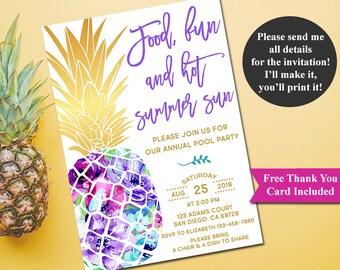 Pool Party Invitation, Summer Bash Invitation, Summer Party Invitation, Cookout Invitation, BBQ invitation, Pineapple Invitation