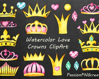 Watercolor Love Crowns ClipArt, Watercolour crown clip art, diadem, PNG files, Royal Crown, For Personal and Commercial Use