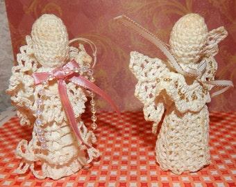 Sale.........2 Vintage Handmade Crochet Angel Ornaments Folk Art, Elegant Designs