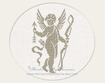 Large Cupid with Bow and Arrow, Cherub, Angel, Machine Cross Stitch, Machine Embroidery Design, Antique, Vintage Design - Large Hoop Design