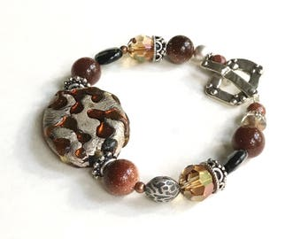 Silver and Amber Bohochic Statement Beaded Bracelet Animal Print  Glass, For Her Under 150, US Free Shipping