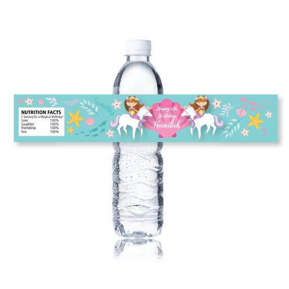 Sirena Unicorn etiqueta de botella de agua impresión
