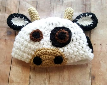 Baby Cow Hat, Crochet Cow Hat, Baby Calf Hat, Baby Calf Photo Prop, Newborn Photo Prop, Baby Shower Gift, Cow Costume, Baby Accessory