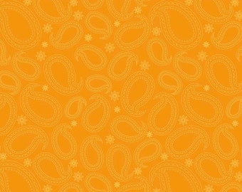 By The HALF YARD - Primavera by Patty Young for Riley Blake, Patt. #C5477 Tangerine Primavera Paisley, Yellow Paisleys and Flowers on Orange