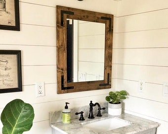 Rustic Mirror, Farmhouse Mirror, Country Framed Mirror, Wood Mirror, Bathroom Mirror, Wall Mirror, Vanity Mirrors,Cottage Small Large Mirror