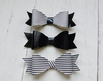 Set of three* Humbug fabric hair bow, hair clip, girls hair bow, hair accessory